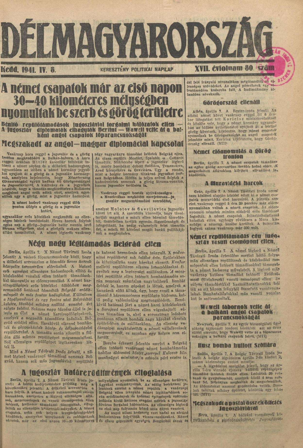 Délmagyarország – 1941. április 8.